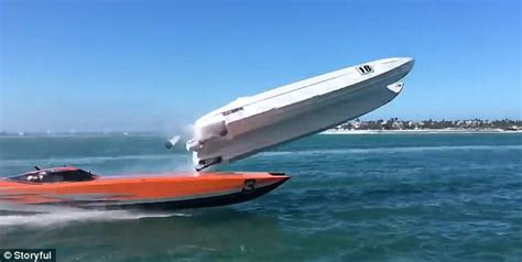 boat driving over boat powerboat crashes during key west boat race daily mail