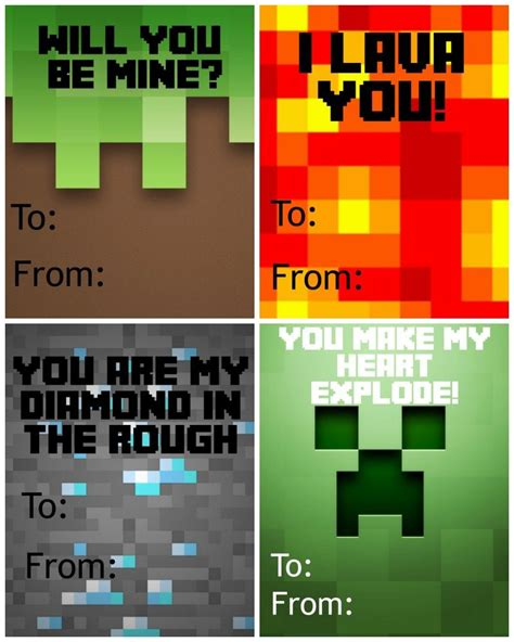 valentines day minecraft free printable minecraft s day cards free