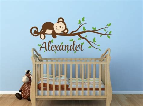 Monkey Nursery Decor Monkey Decal Monkey Name Decal Nursery Decor Monkey Nursery Decal Monkey Tree Branch Decal