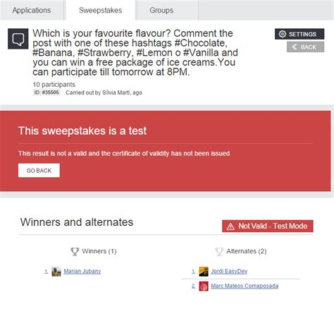 Sweepstakes Administrator - update of the facebook sweepstakes application all the new features