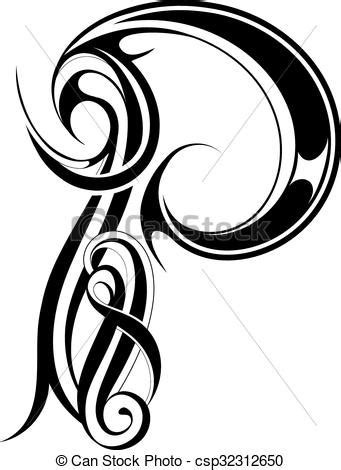 Letter p gothic style. Gothic style capital letter p
