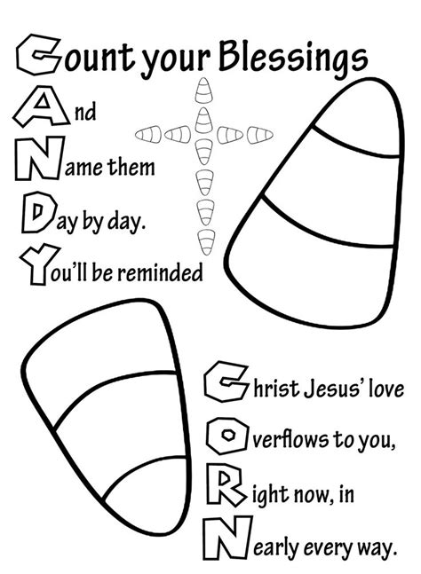 christian harvest coloring pages my cup overflows candy corn preschool pinterest