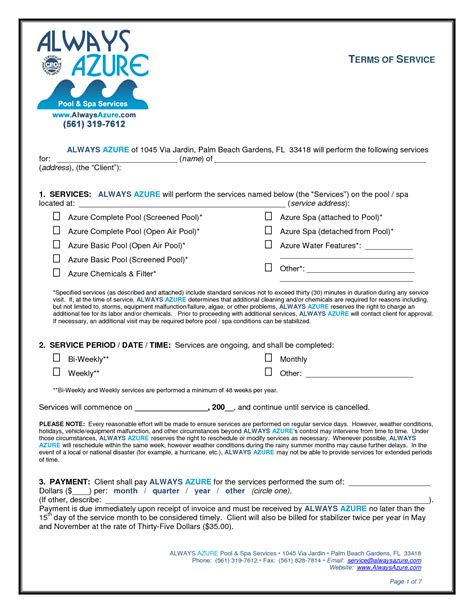pool service contract template 10 best images of service agreement form template free