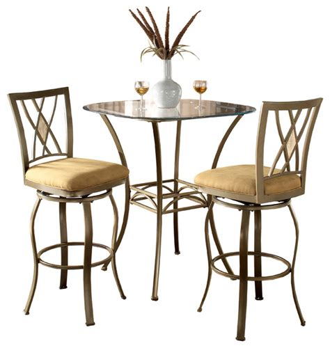 Indoor Bistro Table Set Brookside 3 Brown Powder Coated Bistro Set Contemporary Indoor Pub And Bistro Sets