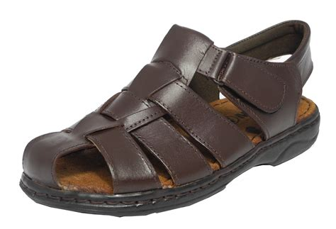 mens closed toe sandals mens leather closed toe velcro sandals summer hiking shoes