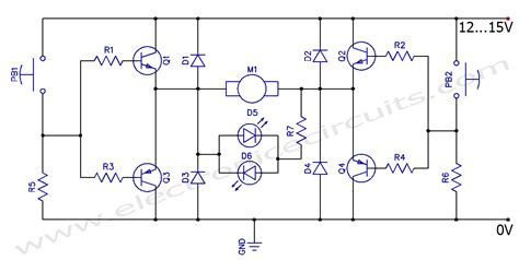 dc motor clockwise anticlockwise h bridge circuit