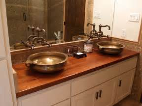 Wood Bathroom Countertop Sink Cutouts In Custom Wood Countertops