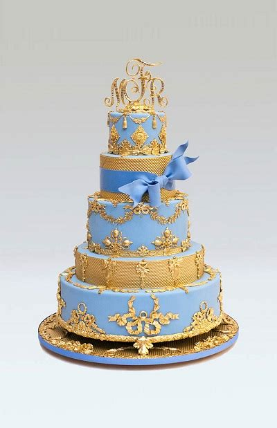Blue Wedding Cakes With Prices by Blue And Gold Wedding Cake Cakes Prices