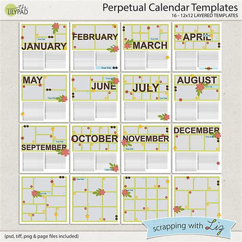 digital scrapbook template perpetual calendar