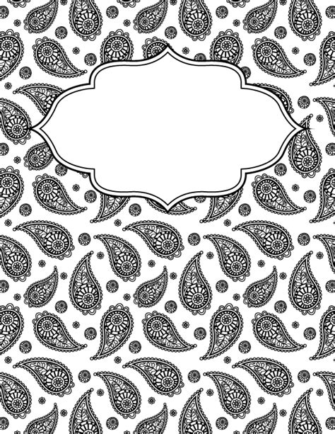 Black And White Binder Cover Templates by Free Printable Black And White Paisley Binder Cover