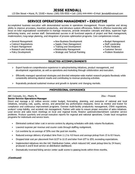 exle service operations manager resume free sle