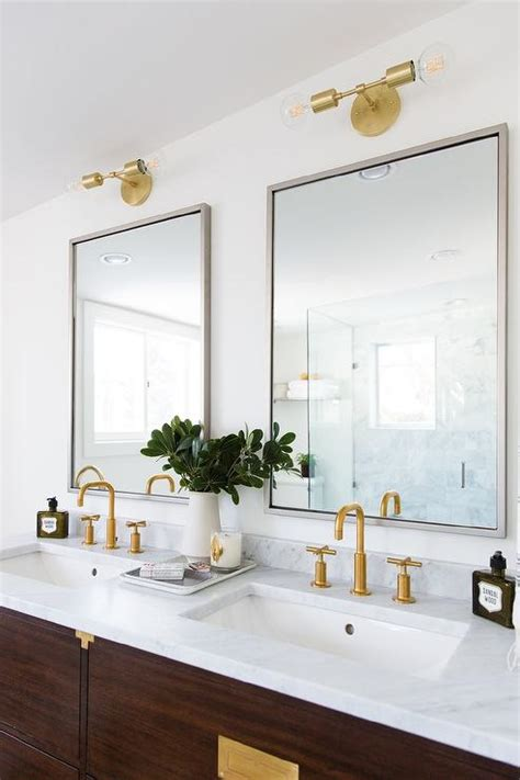 brown campaign washstand with vintage brass hardware