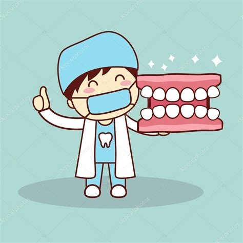 imagenes animadas odontologo dentista y dentadura de feliz de dibujos animados vector