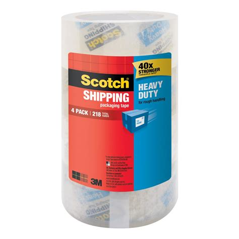 Ac General 3 4 Pk 3m scotch 1 88 in x 54 6 yds heavy duty shipping packaging 4 pack of 4 3850 lr4