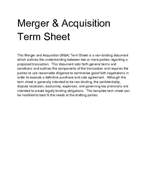 Welcome To Docs 4 Sale Acquisition Term Sheet Template