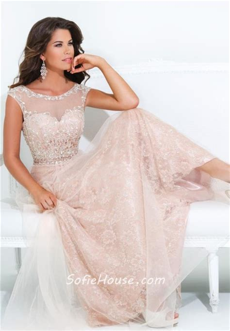 A Line Illusion Neckline Cap Sleeve Long Peach Lace Tulle