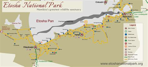 national map etosha national park map distances