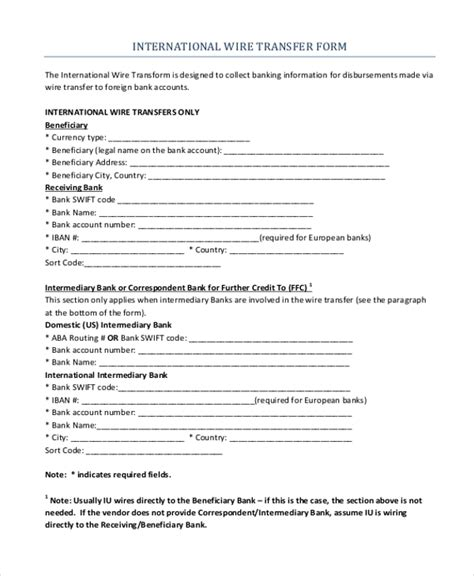 Sle Wire Transfer Form 10 Free Documents In Pdf Wire Transfer Template