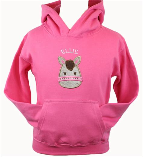 hoodie horse design personalised girls pony applique hoodie design your own