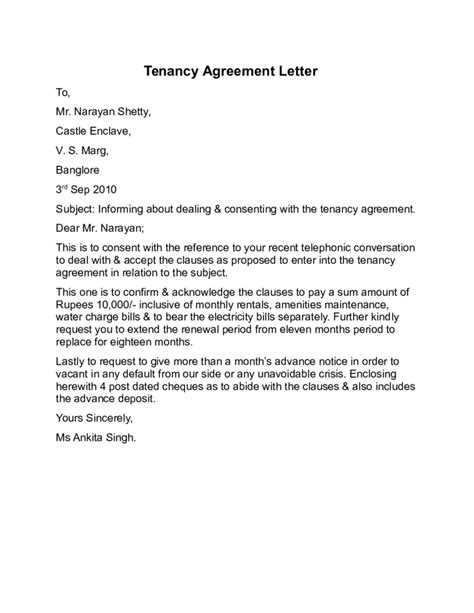 Sle Letter Of Agreement Between Landlord And Tenant Tenancy Agreement Letter Sle Free