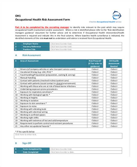 ohs risk assessment template 45 sle health assessment form