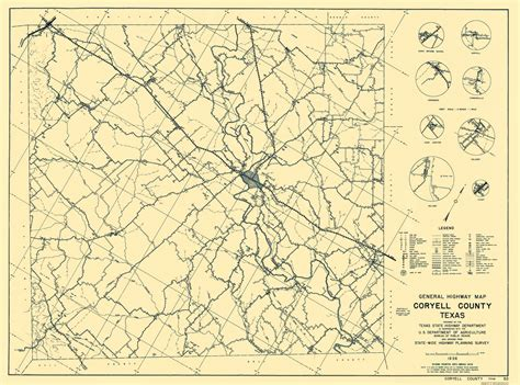 gatesville texas map county maps coryell county texas map by tx state hwy dept 1936