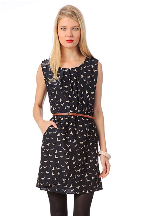 Dress Drs 107 louche pencil dress dreamy navy lou pleat nk bird prt drs in blue lyst