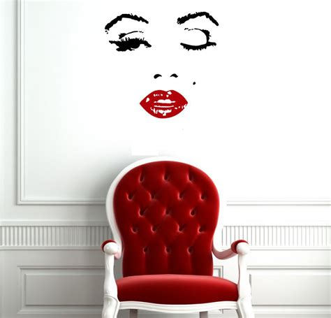home decor vinyl wall art 110x90cm hot red clip marilyn monroe vinyl decal home decor wall stickers diy wall art vinilo
