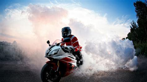 wallpaper biker burnout smoke hd  automotive