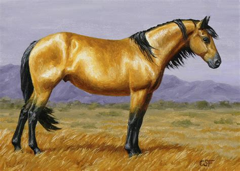 Equine Home Decor buckskin mustang stallion painting by crista forest