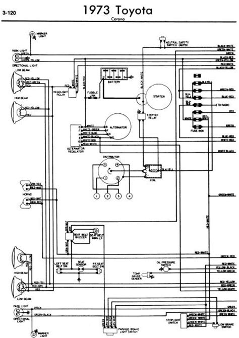 toyota corona 1973 wiring diagrams manual