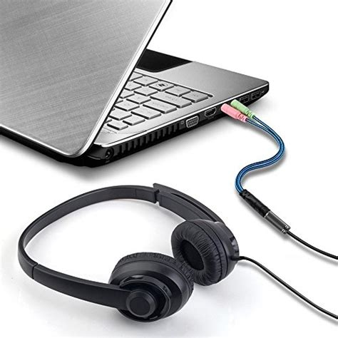 35mm To Dual 35mm Headphone Microphone Audio Split headset splitter cable for pc 3 5mm headphones
