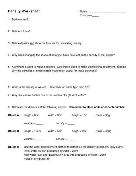 Density Worksheets With Answer Key