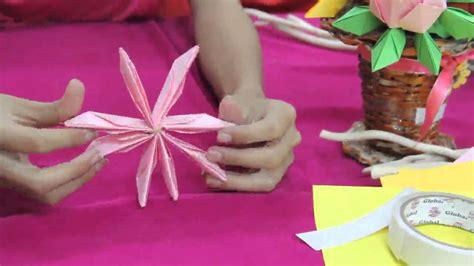 membuat origami bunga lotus psv3109 origami bunga lotus youtube