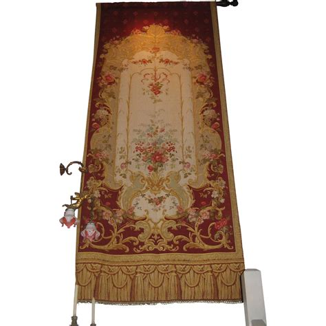 tapestry drapes antique pair aubusson style french tapestry drapes
