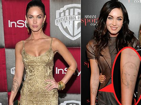 megan fox tattoo removed megan fox s marilyn does disappearing act ny