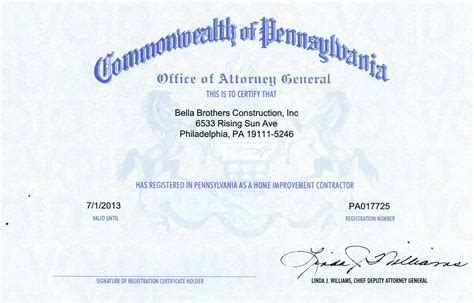 pennsylvania attorney general contractor license