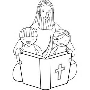reading the bible coloring page jesus reading bible with children coloring page