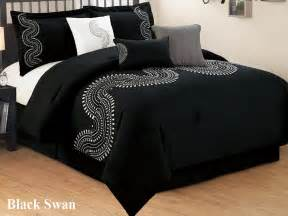 Black And White Comforter Sets Full 7 Pc Black And White Embroidered Microfiber Comforter Set