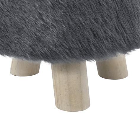 hocker grau en casa 174 hocker grau kunstfell polsterhocker sitzhocker
