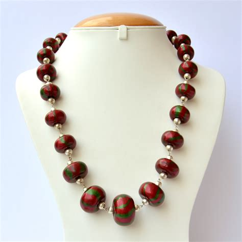 Handmade Bead Necklace - handmade necklace with maroon green stripes