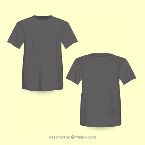 black t shirt front and back vector free download