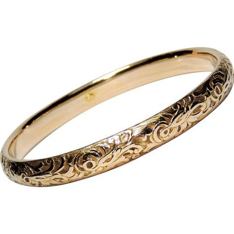 antique 14k solid gold bangle bracelet repousse