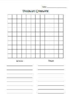 vocabulary crossword template  mrssquier teachers pay