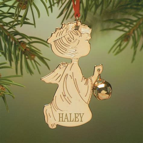 personalized angel ornament brass christmas ornament