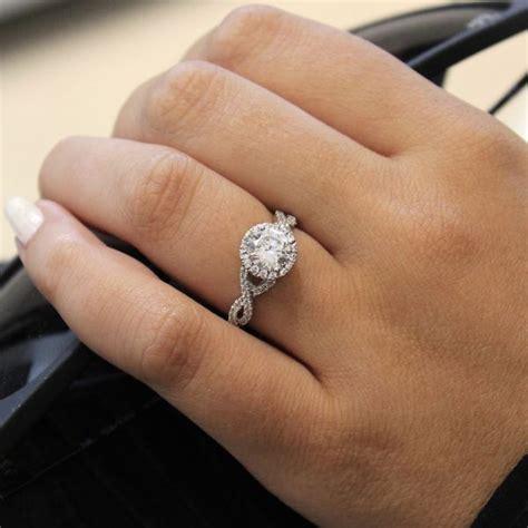 Engagement Week Roundup by Marissa 14k White Gold Halo Engagement Ring