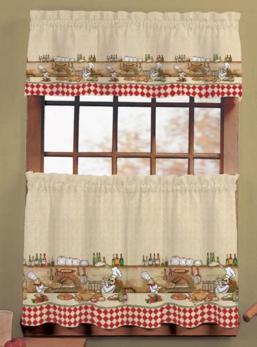 Chef Kitchen Curtains Italian Chef Window Curtain Set Kitchen Valance Tiers Scarbrough Faire