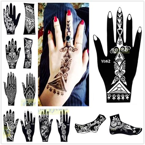 henna tattoo hand sticker 1pc india henna temporary stencils for leg arm