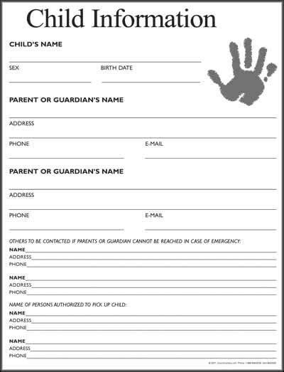 child information form  starting  daycare daycare