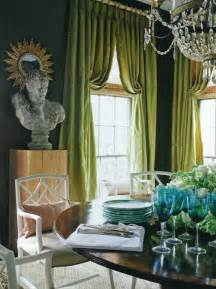 Best Color Curtains For Green Walls Decorating Green Curtains Eclectic Dining Room R Higgins Interiors